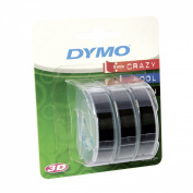 Dymo Label Writer - Strategic 1741670 Embossing Label 3/8 Black 9.8 3 Rolls