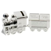 Silver Plated Train Money Box with Tooth an Curl Carriages