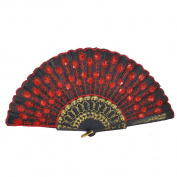 Red Embroidered Flower Pattern Black Cloth Folding Hand Fan for Woman