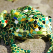 Large Mosaic Coloured Resin Frog Garden Ornament