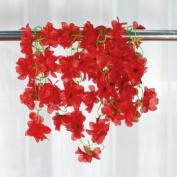 Artificial Azalea Garland Silk Flower Vine Wedding Garden Decoration - Red