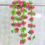 Artificial Rose Garland Silk Flower Vine for Home Wedding Garden Decoration - Shocking Pink