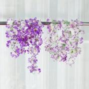 2x Artificial Azalea Garland Silk Flower Vine Wedding Garden Decoration - Purple