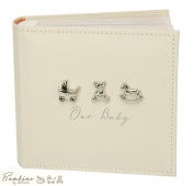 "Bambino Baby Christening Gifts. Linen Fabric ""Our Baby"" Photo Album - Holds 250cm x 15cm x10cm Pictures"