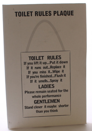 wooden funny plaque sign toilet rules bathroom delivery is free ebay. Black Bedroom Furniture Sets. Home Design Ideas