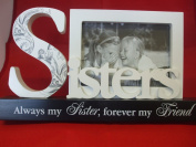 "Black and White Sisters Table Block Photo Frame ""Always my Sister Forever my Friend"""