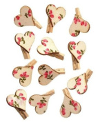 12 Small Craft Pegs - Floral Heart Design