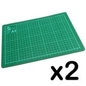 Pack of 2 - A4 Cutting Mat Board - 220 x 300 mm - 3 mm Thick - Non-Slip surface with marking guidelines for accurate cutting