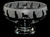 Siamese Cat Glass Footed Bowl with Frosted Frieze ~ *Cat Gift*
