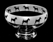 Irish Terrier Dog Glass Footed Bowl with Frosted Border ~ Dog Gift