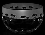 RHINO Large Crystal Glass Bowl with Rhino Frieze ~ *Animal Gift*