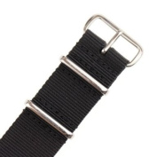 INFANTRY Military Black NATO Watch Band Nylon Fabric Strap G10 4 Rings Silver Hardware 22mm Divers Strong #WS-NATO-B-22M
