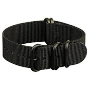 INFANTRY G10 5 Rings Military Black ZULU Watch Band Fabric Nylon Strap 22mm Strong Divers #WS-ZULU-BB-22M