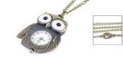 Arabic Number Display White Dial Owl Design Case Pocket Watch Bronze Tone