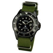 INFANTRY Men's Quartz Watch with Black Dial Date Analogue Display and Green NATO Strap #IN-019-BLK-GN