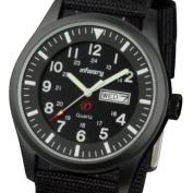 INFANTRY Mens Quartz Wrist Watch Date Day 24Hrs Lume Sport Black Nylon Strap #IN-044-BLK-N