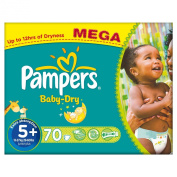 Pampers Baby Dry Size 5+ (Junior +) Mega Box 70 Nappies