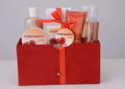 Pomegranate Bath Spa Gift Set in Red Velvet Rich Box