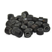 200 PCS 5mm Dark Brown Colour Silicone Lined Micro Rings Links Beads Linkies for I Bonded Tipped Hair Extensions
