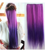 Uniwigs Ombre Dip-dye Colour Clip in Hair Extension 60cm Length Rose Red to Dark Purple Straight for Dreamlike Girls Tbe0008