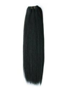 Emosa 7pcs 100% Real Human Hair Clips in Extensions 38cm #1b Jet Black Full Head Silky Soft