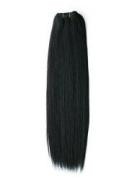 Emosa 7pcs 100% Real Human Hair Clips in Extensions 38cm #1b Jet Black Full Head Silky Soft