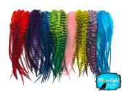Moonlight Feather, Hair Extension Feathers - Colourful Medium Length Rooster Hair Extension Feathers Wholesale - 100 Pieces