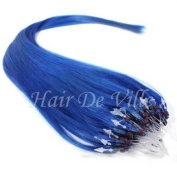 25 Strands 60cm Long Micro Loop Ring Beads I Tip Human Hair Extensions Colour # Blue 0.8g Each Strand