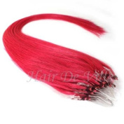 25 Strands 60cm Long Micro Loop Ring Beads I Tip Human Hair Extensions Colour # Fuchsia Pink Each Strand