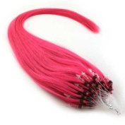 25 Strands 60cm Long Micro Loop Ring Beads I Tip Human Hair Extensions Colour # Hot Pink 0.8g Each Strand