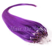 25 Strands 60cm Long Micro Loop Ring Beads I Tip Human Hair Extensions Colour # Purple Each Strand