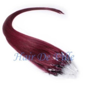 25 Strands 60cm Long Micro Loop Ring Beads I Tip Human Hair Extensions Colour #350 Burgundy 0.8g Each Strand