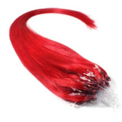 25 Strands 60cm Long Micro Loop Ring Beads I Tip Human Hair Extensions Colour Fire Red # 0.8g Each Strand