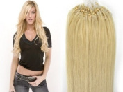 22''High Quality Loops Micro Ring Beads Tipped Remy Human Hair Extensions 100S #60 Platinum Blonde