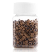 Yesurprise 500 Silicone Micro Link Rings 5mm Lined Beads for Hair Extensions Tool Dark Blonde