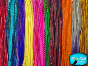 Moonlight Feather, Hair Extension Feathers - Wholesale Colourful Thin Long Rooster Hair Extension Feathers (Bulk) - 100 Pieces