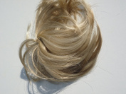 HAIR EXTENSION SCRUNCHIE NATURAL ASH BLONDE/DARK MIX UP DO DOWN DO MULT TONES SPIKY TWISTER