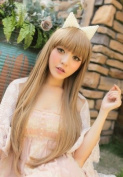 2013 Fashion Long Straight Heat Resistant As Real Human Hair Wig Wigs Milk Tea K054