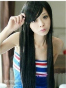 Beautiful Womens Black Long Diagonal Bangs Straight Wig