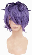 Anangelhair +Free Hair Cap Ib Garry Short Curly Purple Mixed Anime Halloween Party Cosplay Wig