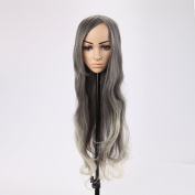 Hot Fashion Sexy Long Grey White Mixed Curly Cosplay Wigs 80cm