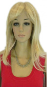 Yazilind Long Light Blonde Straight Side-Swept Bang Heat Resistant Fibre Synthetic Hair Full Cosplay Anime Costume Wig