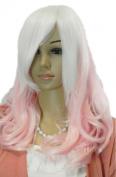 Yazilind Women's Medium Length Pink White Mix Straight Wavy Hair Full Cosplay Anime Costume Wig