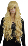 Yazilind Elegant Lady Wavy Curly Long Yellow Synthetic Hair Cosplay Full Wig