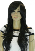 Yazilind Dark Black Straight Layered Heat Resistant Fibre Synthetic Hair Full Cosplay Anime Costume Wig