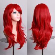 70cm Long Heat Resistant Big Wavy Dark Red Cosplay Wig