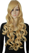 Yazilind Long Yellow Wavy Curly Cosplay Fancy-Dress Party Synthetic Hair Full Wig