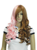 Yazilind Brown Pink Mix Lolita Medium Long Wavy Curly Heat Resistant Fibre Synthetic Hair Full Cosplay Anime Costume Wig