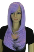 Yazilind Long Silky Straight Purple Layered Side-Swept Bang Heat Resistant Fibre Synthetic Hair Full Cosplay Anime Costume Wig