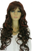 Yazilind Long Wavy Curly Dark Red Brown Mix Side-Swept Bang Natural Looking Full Cosplay Anime Costume Wigs